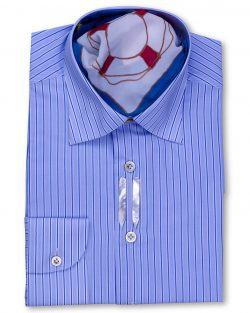 Fancy-Striped Navy Blue Regular Fit Dress Shirt