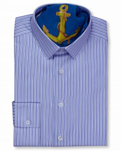 CLASSIC STYLE COLLAR SLIM FIT WHITE NAVY MULTI STRIPED SHIRTS