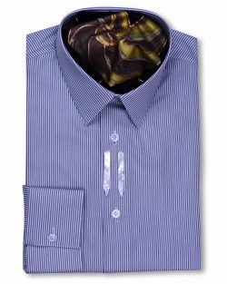 Classic Collar Tailored Fit Grey White Striped Shirts